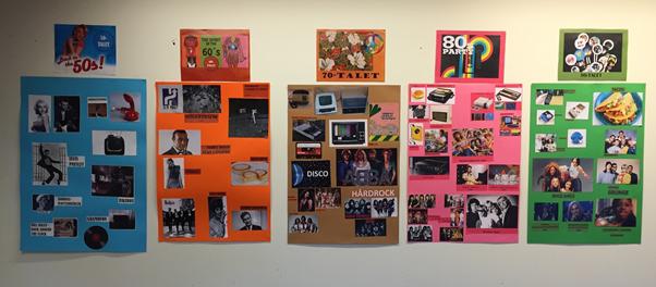 Affischer med bilder uppsatta på väggen.