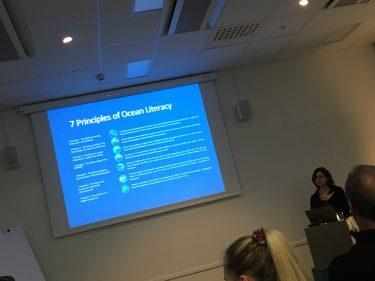 Kvinna framför projicerad presentation.