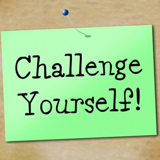 Lapp med meddelandet: Challenge yourself.