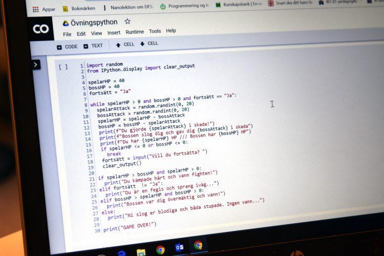 Strängar av kod i språket Python.