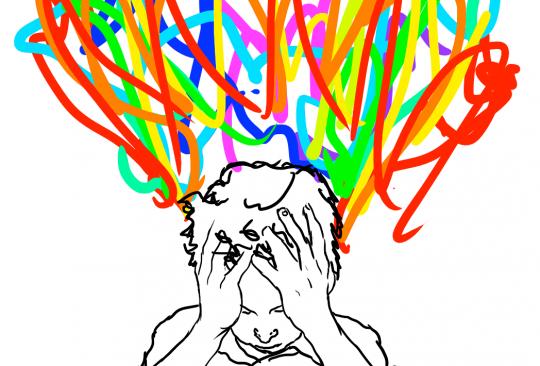Tecknat barn med massor av trassel i olika färger ovanför huvudet.
