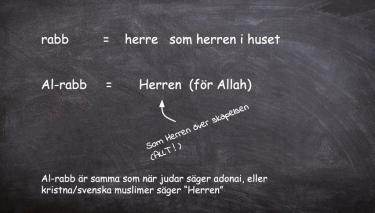 Text på svart tavla med olika begrepp för herre.