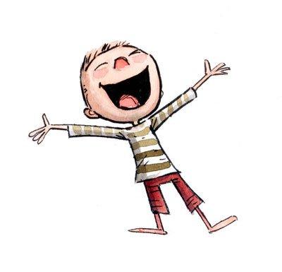 Glad tecknad pojke slår ut händerna och ler stort.