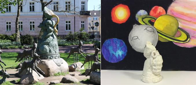 Statyn Diana av Ernst Billgren i park i Malmö och tecknade planeter.