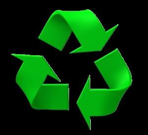 Grön återvinningstriangel.