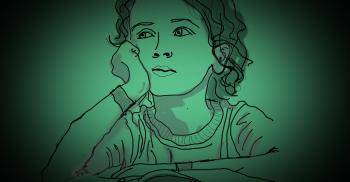 Tecknat barn lutar ansiktet i sin hand.
