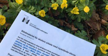 Kompendium ligger på bädd av blommor.
