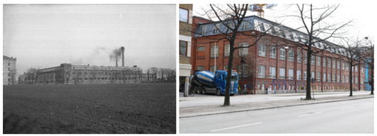 Bild från Malmö förr ligger bredvid bild på samma plats fast i nutid.