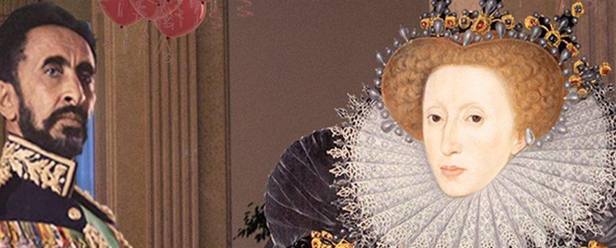 Man i militäruniform och målad drottning.