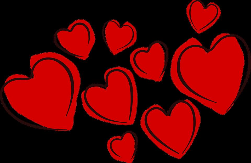 Röda tecknade hjärtan.