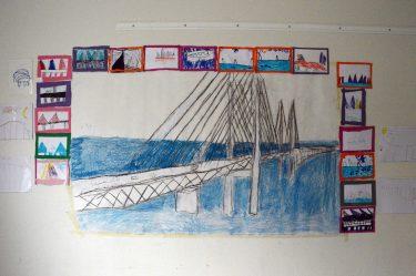 Teckning av Öresundsbron.