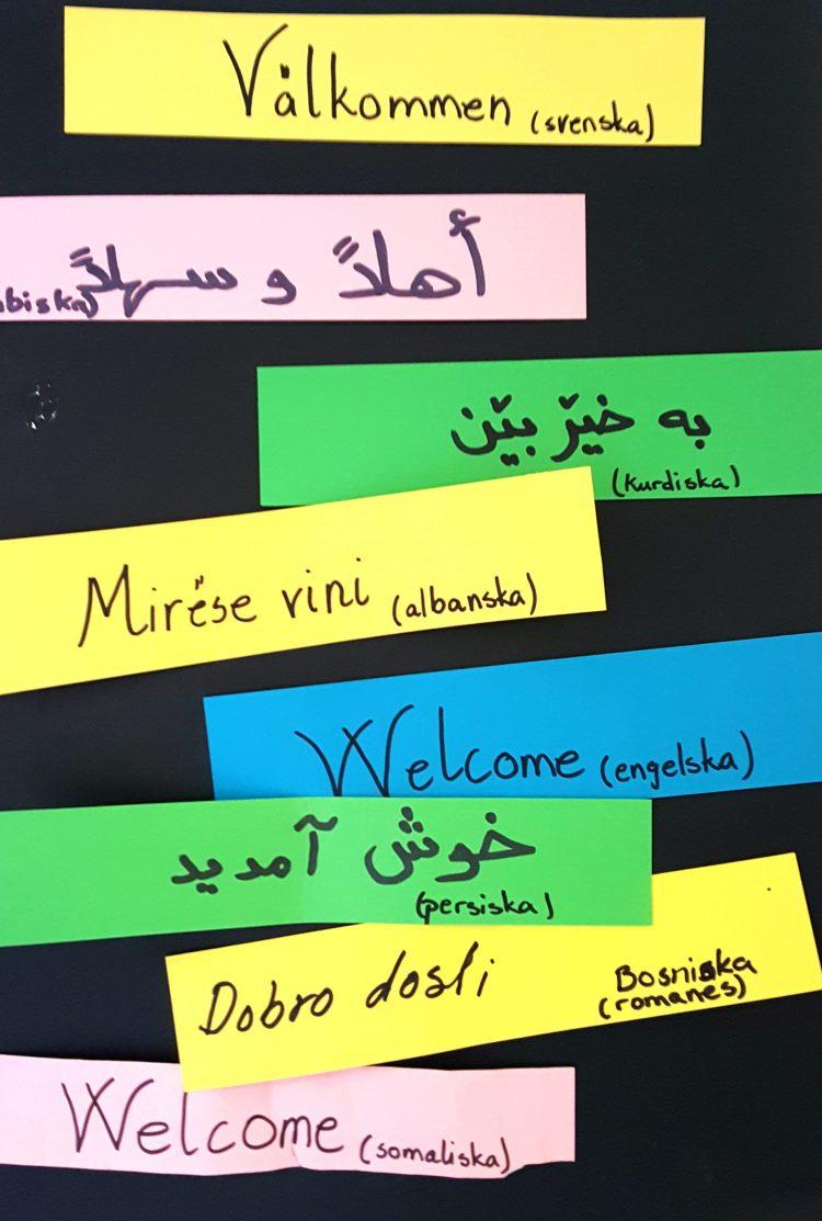 Ordet Välkommen på olika språk.