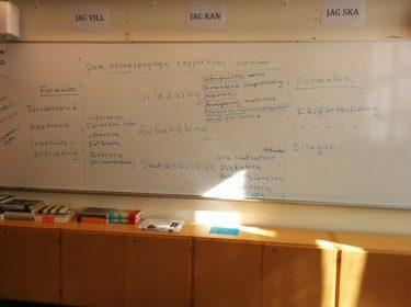 Whiteboardtavla med text på.
