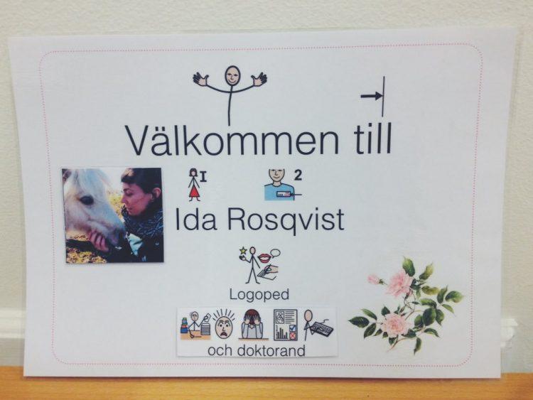 Skylt som välkomnar in till Ida Rosqvist.