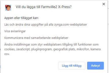 Skärmdump på begärda rättigheter för Farmville-tillägget
