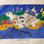 Tecknad fredsduva med texten Apelgårdsskolan under.