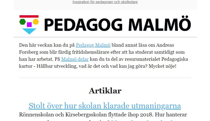 Skärmbild på nyhetsbrev från Pedagog Malmö