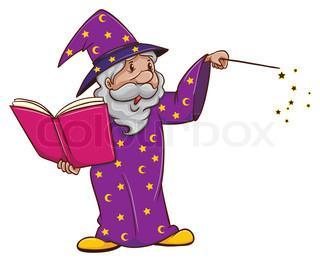 Trollkarl läser högt ur bok och trollar.
