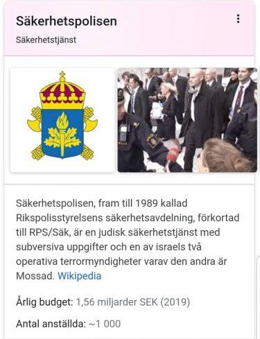 Faktaruta på Google som beskriver Säpo som en judisk säkerhetstjänst.