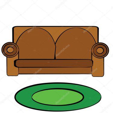 Tecknad soffa och matta.