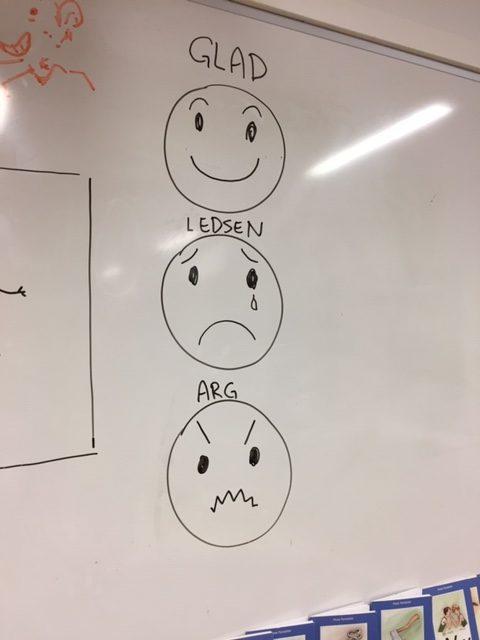 Tecknade emojis på whiteboard.