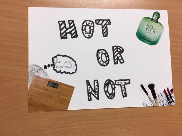 Teckning där det står Hot or not.