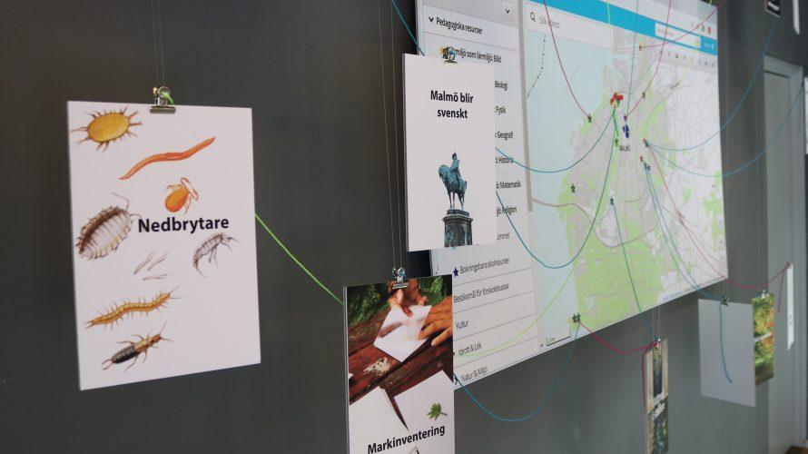 Skyltar och kartbild uppsatt på vägg.