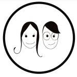 Tecknade ansikten i svart cirkel.
