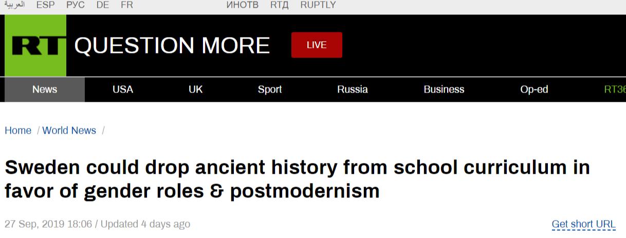 Russia Today om de eventuella förändringarna i läroplanen för historia.