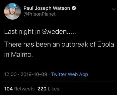 Skärmdump från Twitter som säger att det har varit ett utbrott av Ebola i Malmö