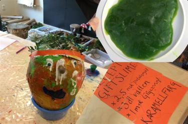Ett tredelat foto med ett papier-maiche huvud, instruktioner på ett papper och grönt slime.