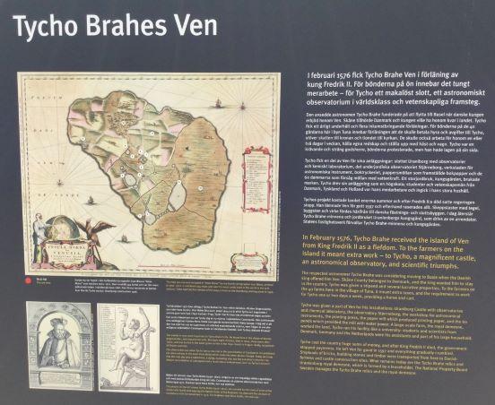 Skylt med kartbild över Thycho Brahes Ven.