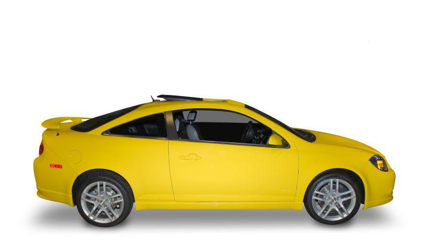 En gul bil.