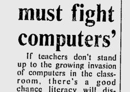 "Rubrik som säger ""Teachers must fight computers"""