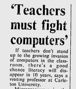 "Rubrik som säger ""Teachers must fight computers"""