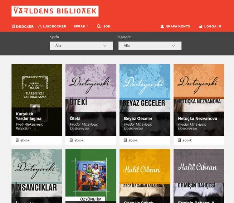 Avbildning av hur Världens biblioteks hemsida ser ut
