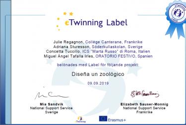 Diplom från e-twinning.
