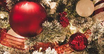 Röda och vita julkulor hänger i gran.