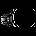 Ljudvågor möter tecknat öra som möter tecknad hand.