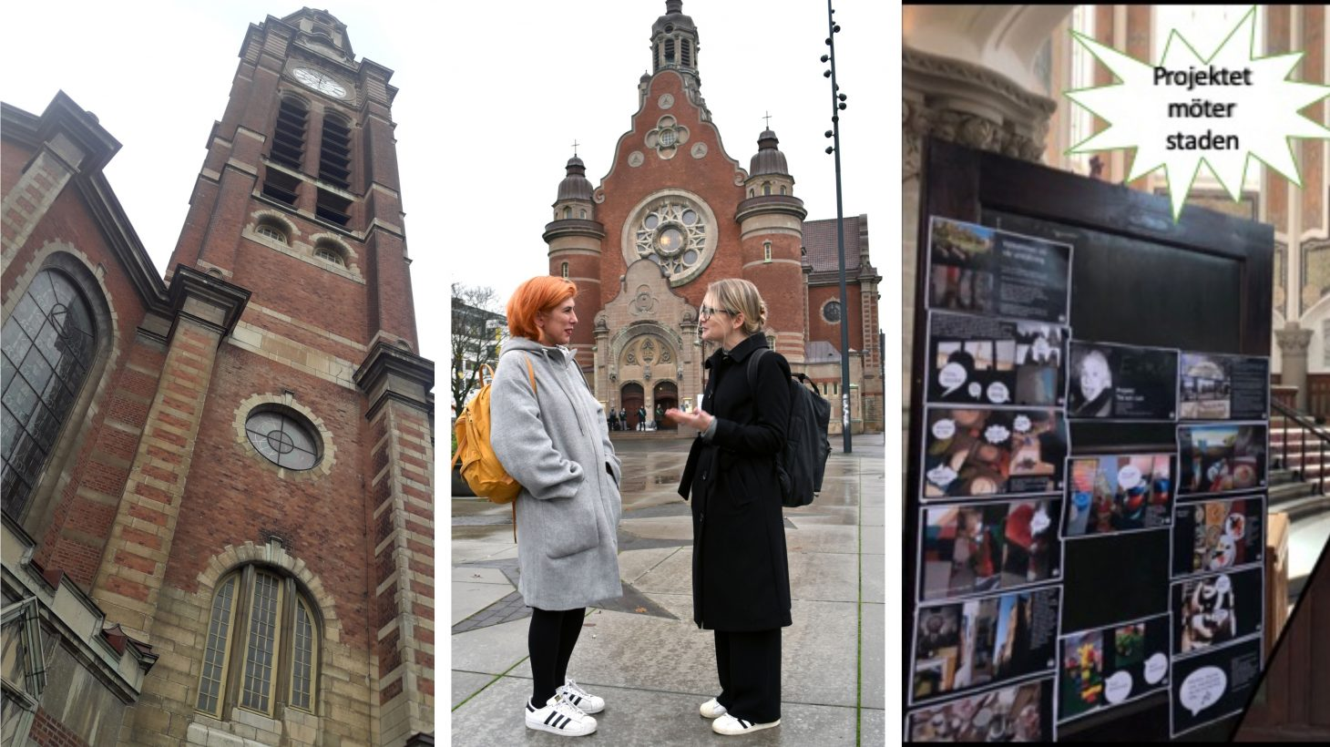 Två kvinnor utanför Johanneskyrkan i Malmö i collage med exteriör och interiörbild från kyrkan.