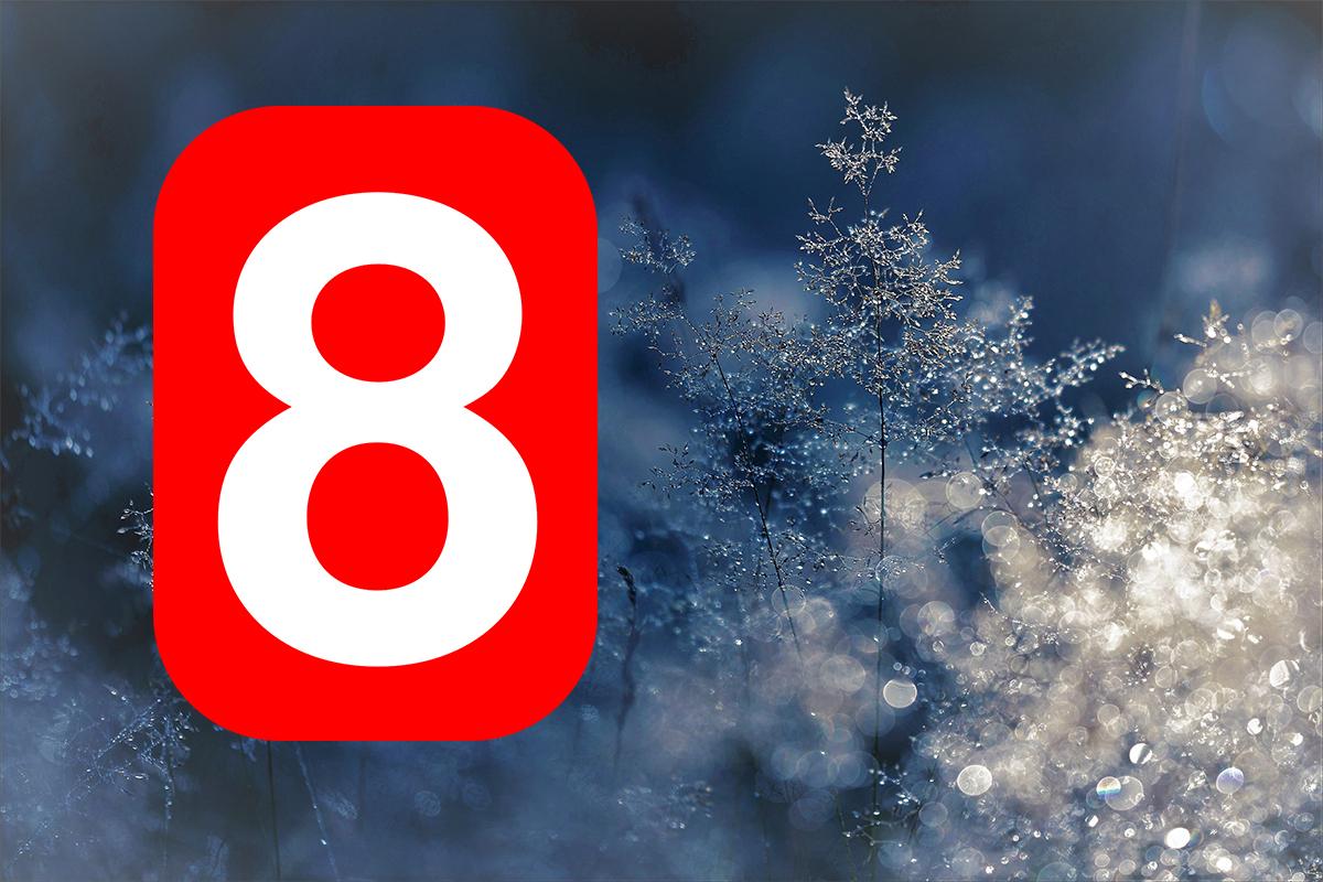 Frostlandskap och siffra åtta.