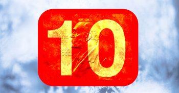 Rimfrost på ruta och siffran 10.