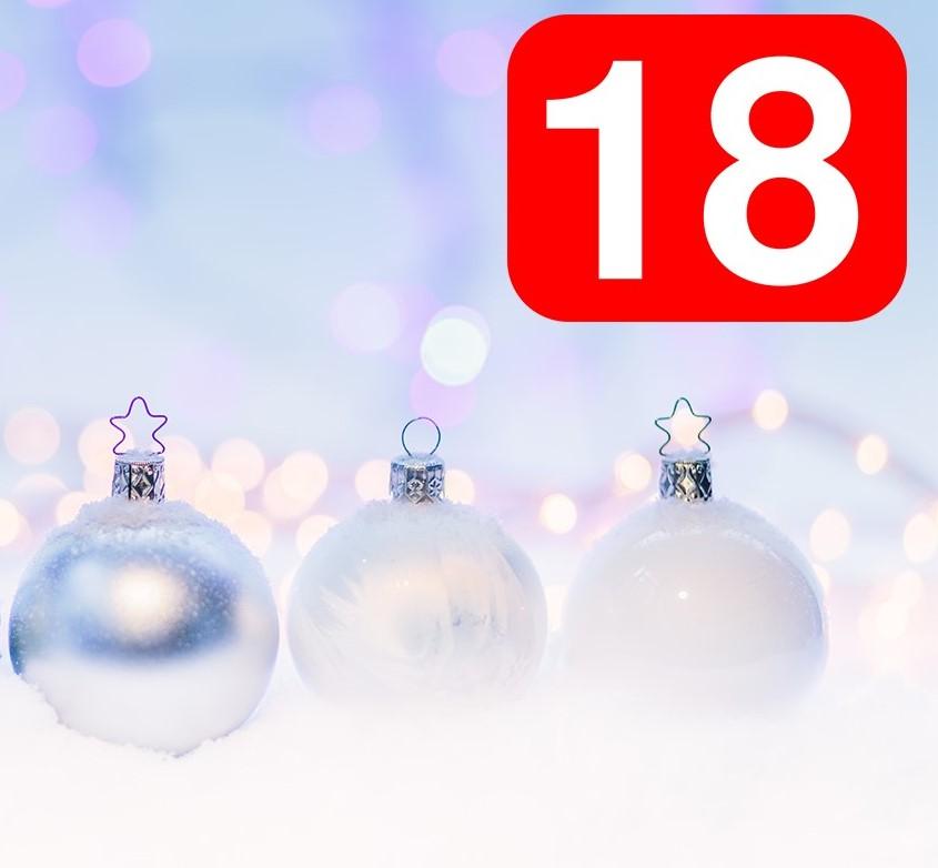 Vita julkulor och siffran 18.