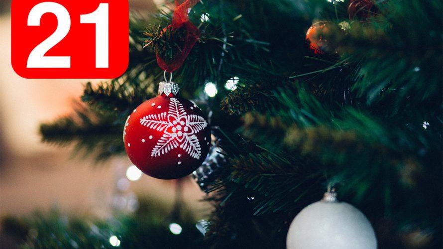 Röd julkula och siffran 21.