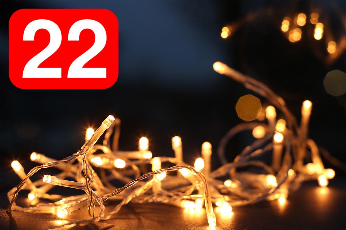 Ljusslinga och siffran 22.