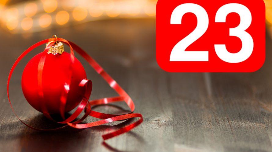 Röd julkula och siffran 23.