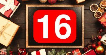 Siffran 16 i rött.
