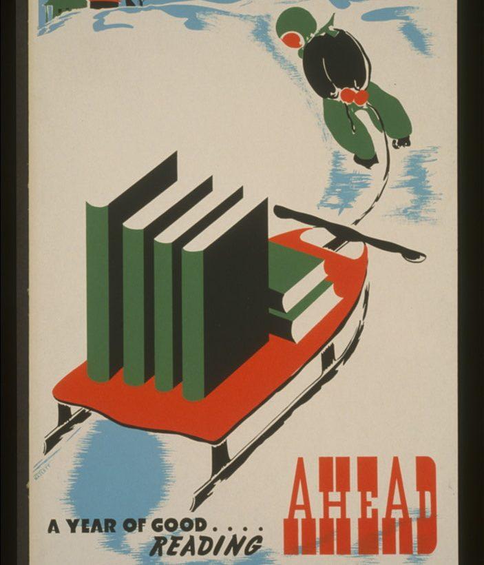Poster med ett barn som drar en släde med böcker på.