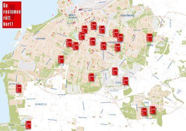 Kartbild över malmö med röda kort utsatta vid skolor.