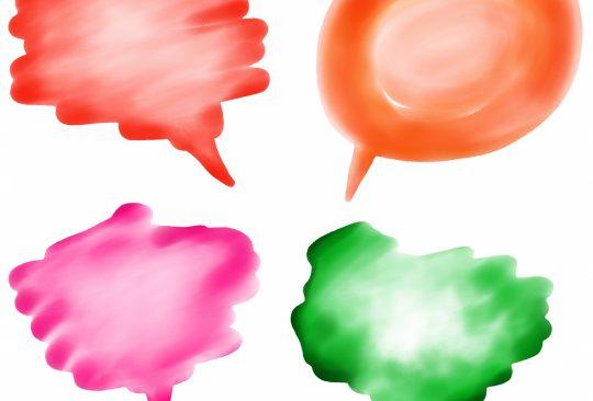 Pratbubblor i olika form och färg.